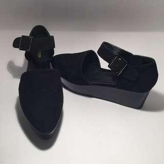 Zomp Ila Black Suede Platform Shoes