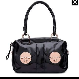 Black Patent Rose Gold Mimco Bag