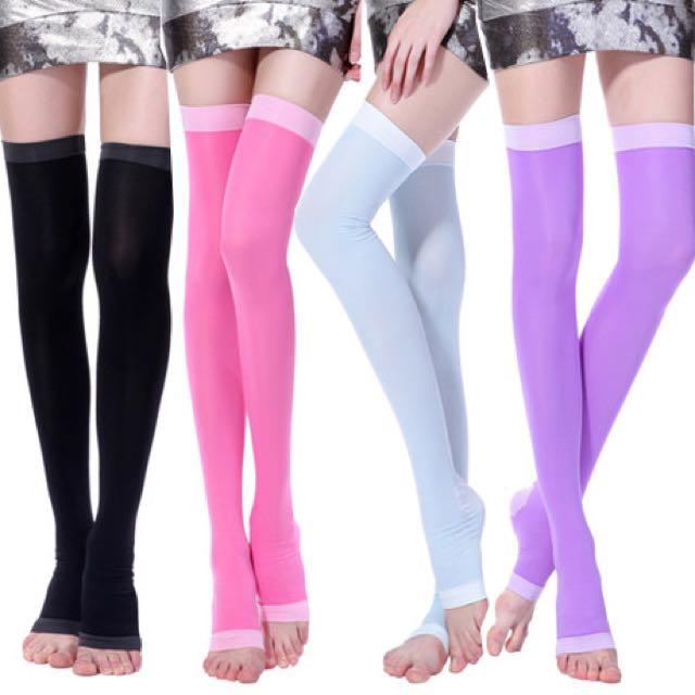 正品420D睡眠壓力瘦小腿美腿夜間彈力塑形瘦腿襪