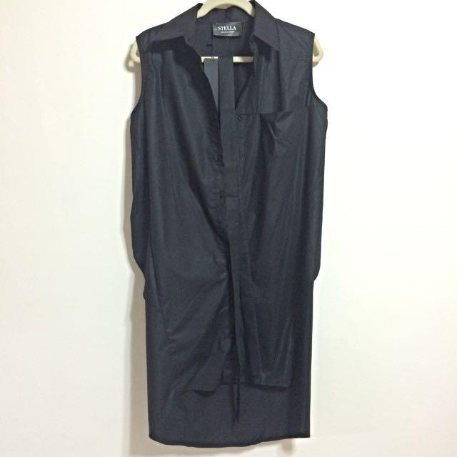 (預定)【LeeLoo】帥氣知性黑色無袖連身裙(附腰帶) - 全新正品
