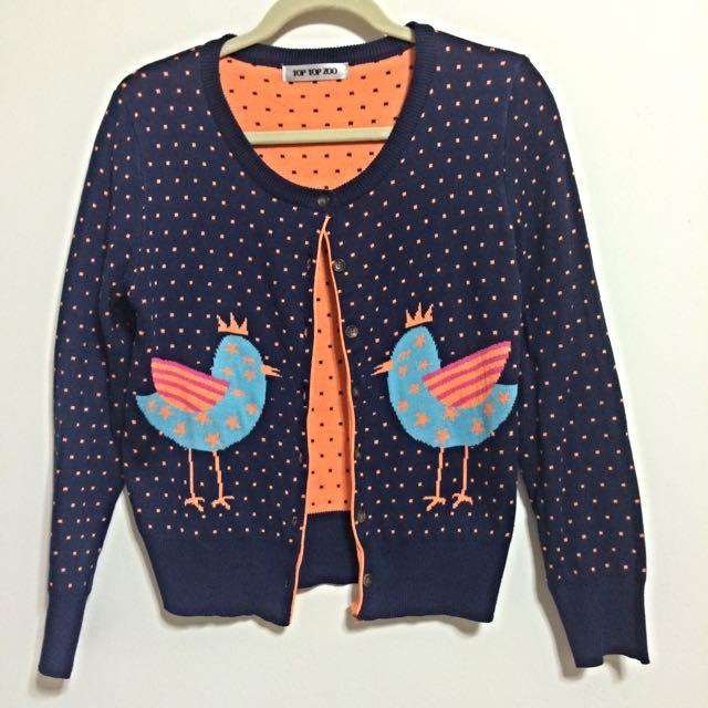 (預定)【Top Top Zoo】超可愛螢光色彩小雞圖案 - 針織外套