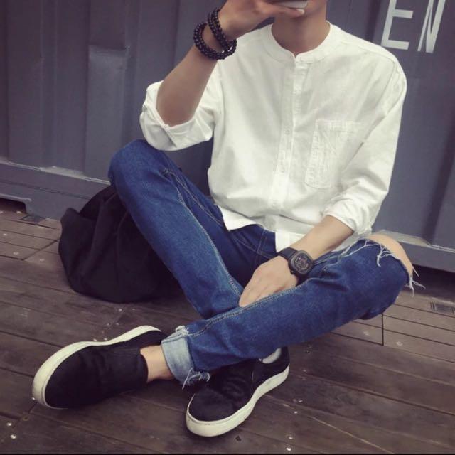 韓國寬版亨利領棉質襯衫