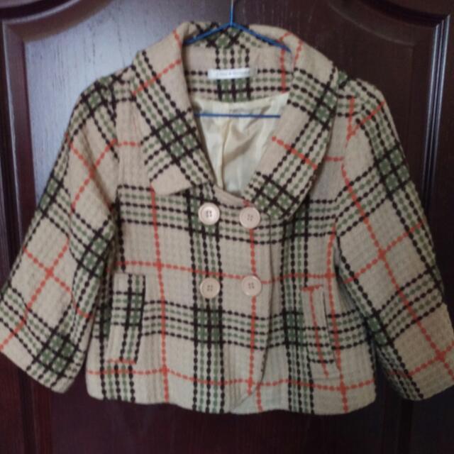 年代短版格紋外套