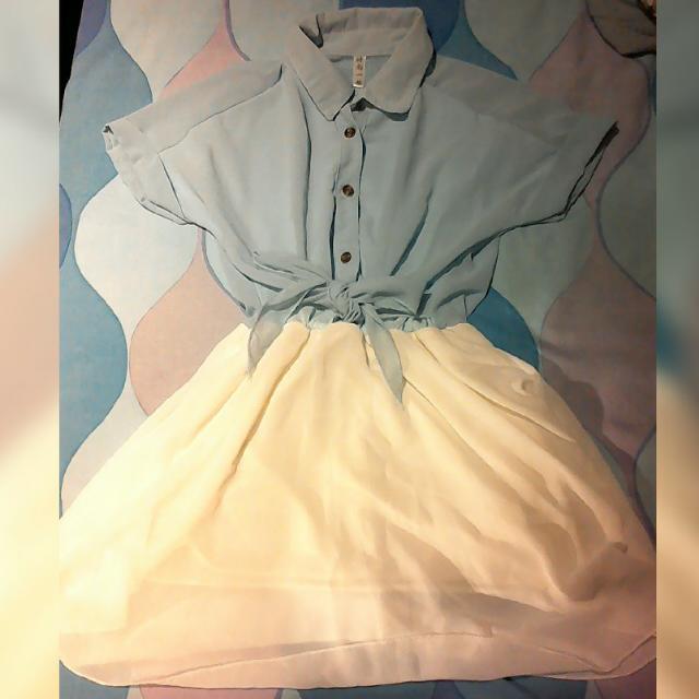 清爽水藍白色連身襯衫洋裝