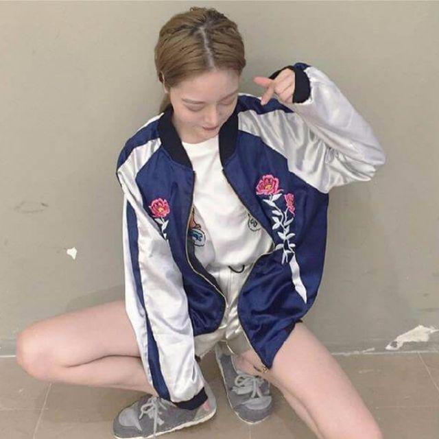 全新 玫瑰刺繡橫須賀滑面棒球外套