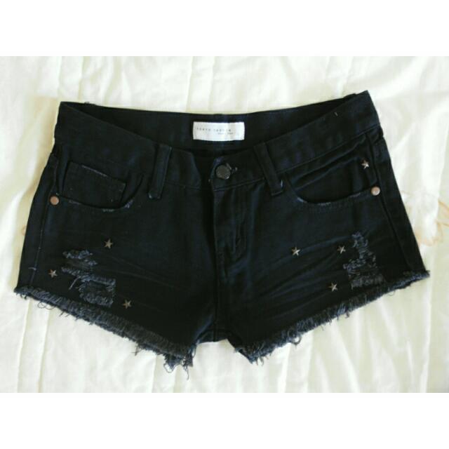 (全新) 黑色 牛仔短褲(25-26)