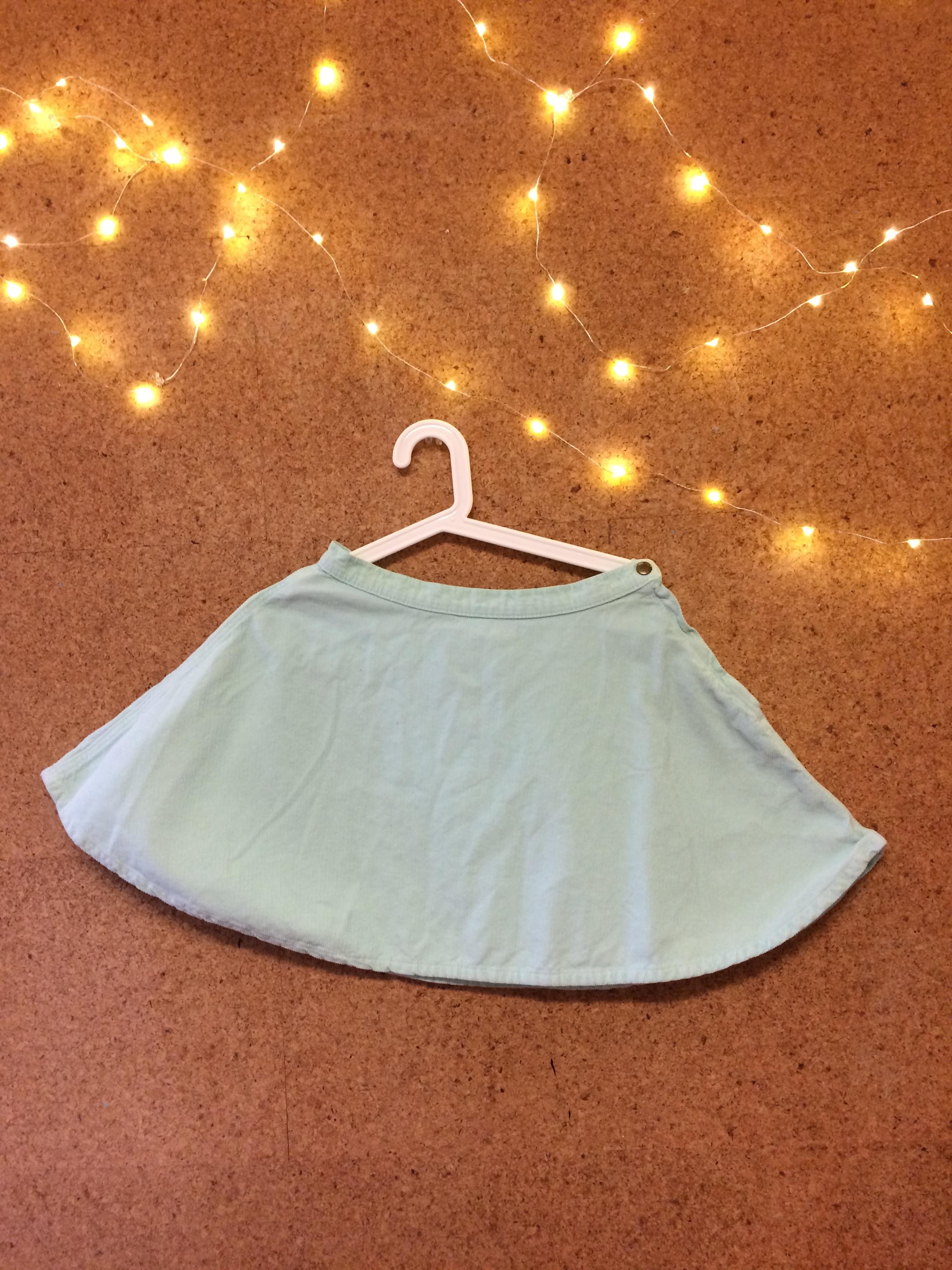 American Apparel Corduroy Circle Skirt in Menthe