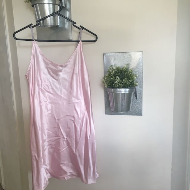 BABY PINK SATIN SLIP DRESS