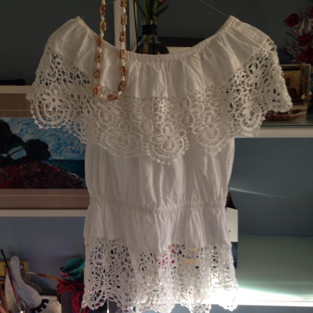 Beachy White Crochet Top