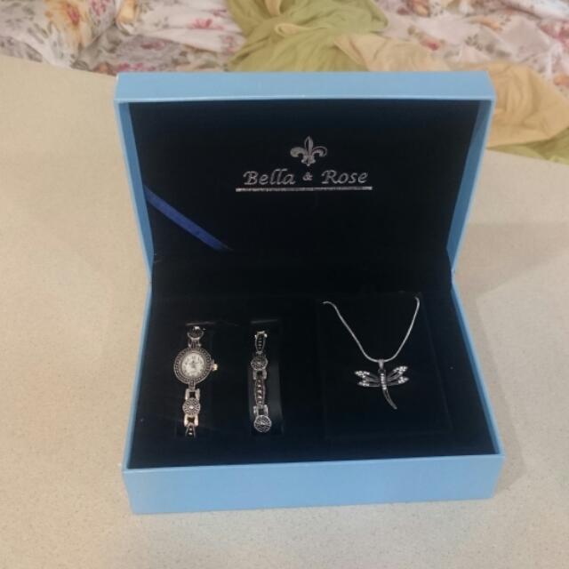 Bella&rose 手錶手鍊項鍊三件組