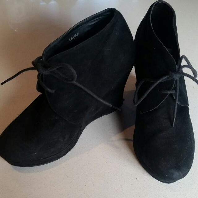Black Lace Up Wedges Size 7