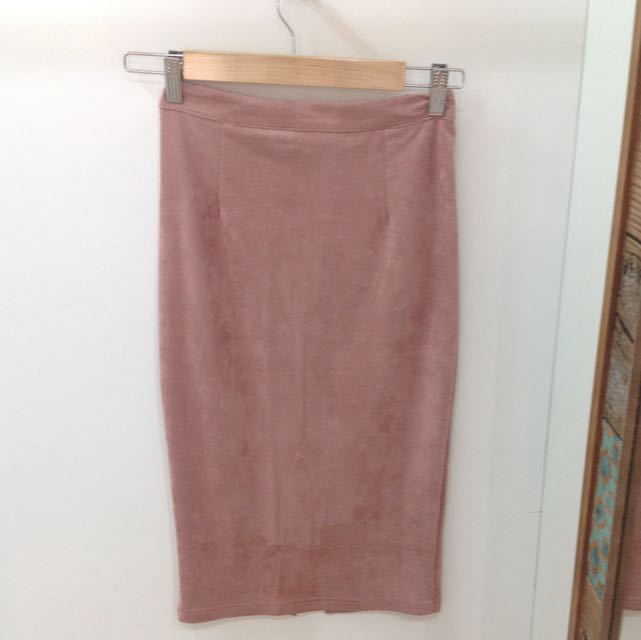 Blush Pink Suede Skirt