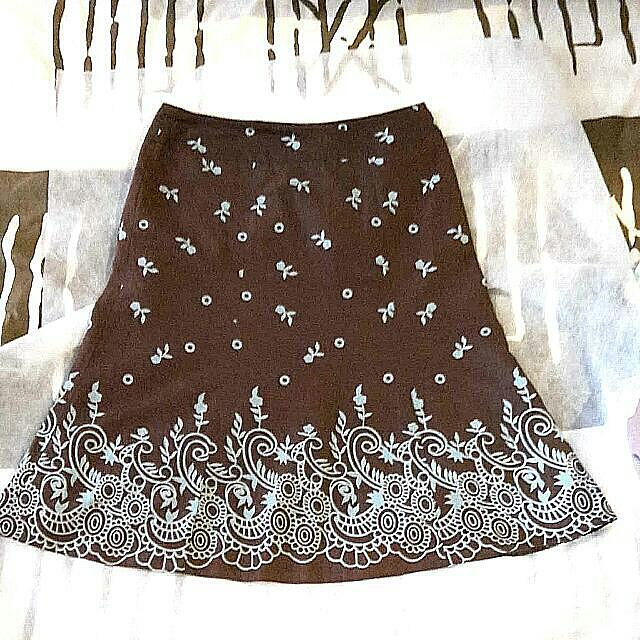Brown Floral Skirt With Lining