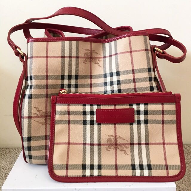 BURBERRY HAYMARKET Small Canterbury Tote AUTHENTIC