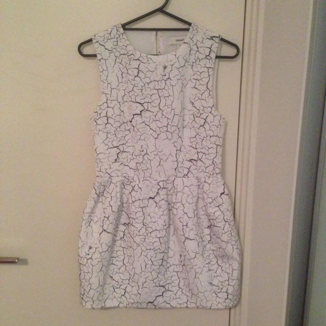 Cameo Marble Print White Dress