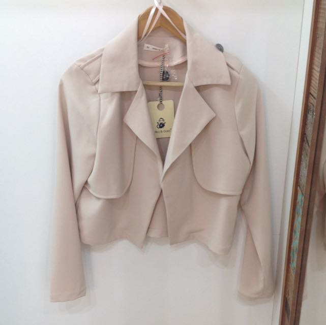 Cream Cropped Jacket