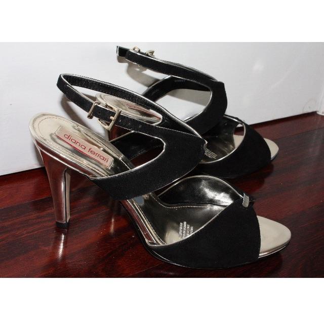 Diana Ferrari Black and Gold Heels- Size 9