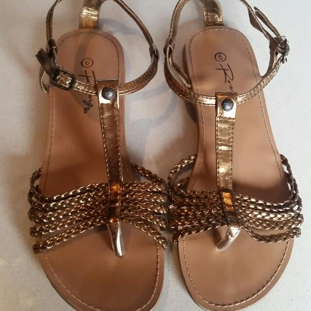 Gold Roxy Sandals