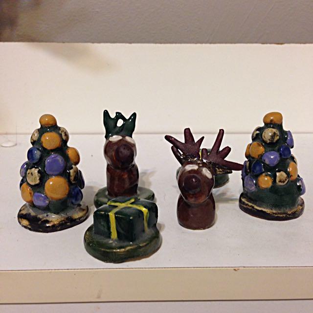Handmade Ceramic Rein Deer, Christmas Tree, Christmas Presents