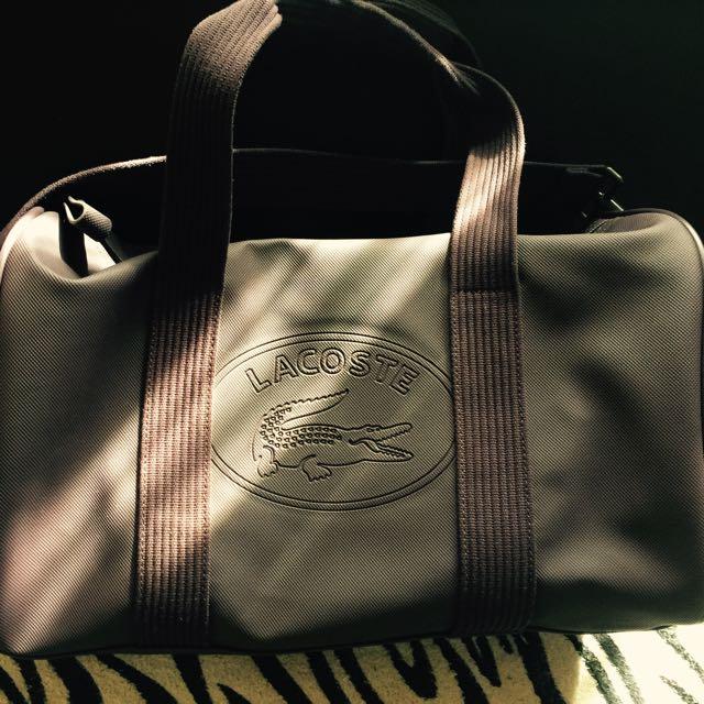 Lacoste purple duffel bag