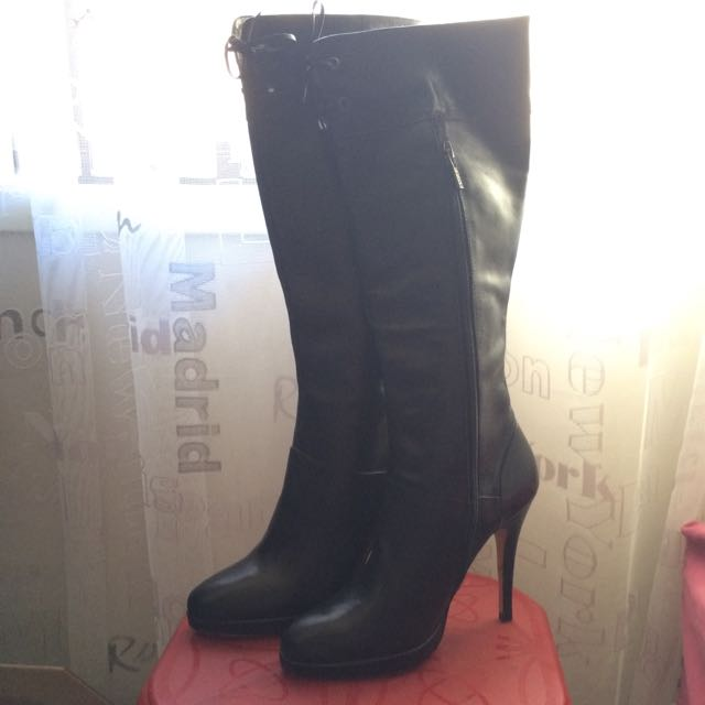 Leather Black Knee High Boots