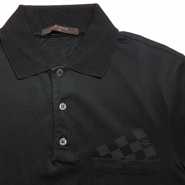 3ee364762f2 Louis Vuitton LV Mens Polo Shirt Black Damier Logo Pocket Size S ...