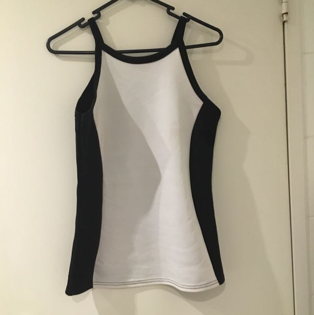 Monochrome Black/white Singlet Top/blouse (Med AU10)