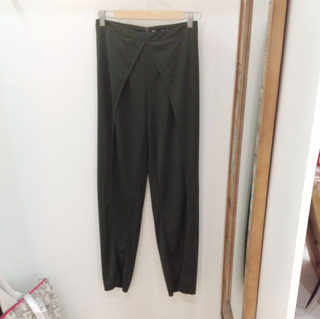 Olive Green Pants With Split