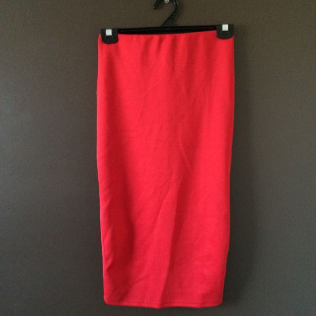 Red Mid Length Skirt