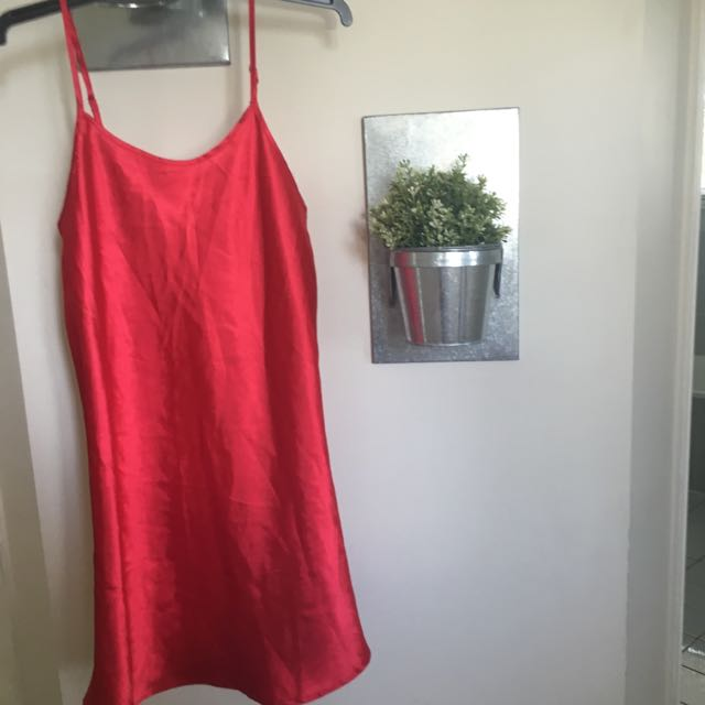 RED SATIN SLIP DRESS
