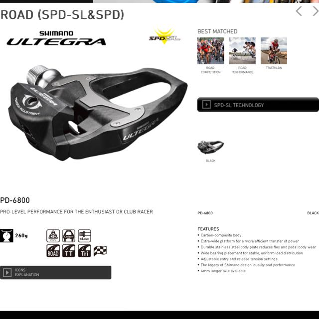 6a494f2d3cf Shimano Ultegra SPD SL / PD6800 Clipless pedal, Sports on Carousell