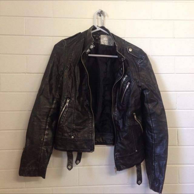 Thrifted Faux Leather Jacket