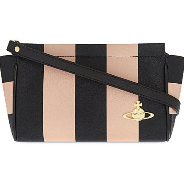 Vivienne Westwood 粉黑雙色條紋斜背包 手拿包 化妝包 可拆背帶