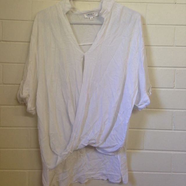 White Cross Over Flowy Top