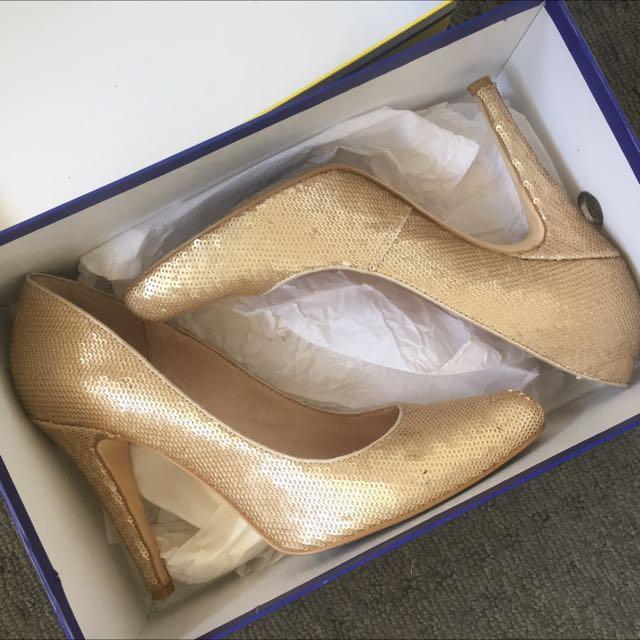 Zoe Wittner Champagne Sequins Heels Size 38