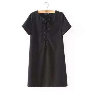 Lace Up Shift Dress