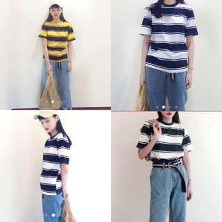 韓版 粗 條紋 藍黃色 綠白 藍白 復古女孩 男孩風 寬鬆 T