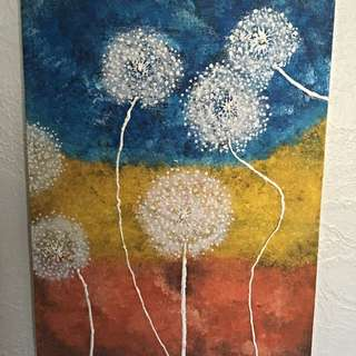 Abstract Dandelion Painting