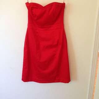 Red Evening Dress (strapless; H&M)