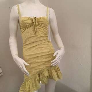 Wayne Cooper Yellow Dotted Mini Dress - Size 0 - 100% Cotton