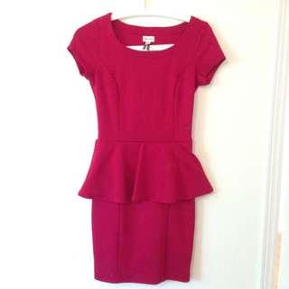 Dynamite Burgundy Peplum Dress