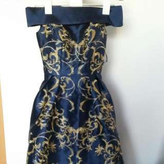 Chi Chi London Navy Dress With Yellow Gold Embroidery