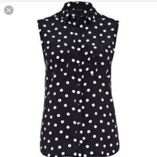 BLUE Sleeveless Polkadots Top