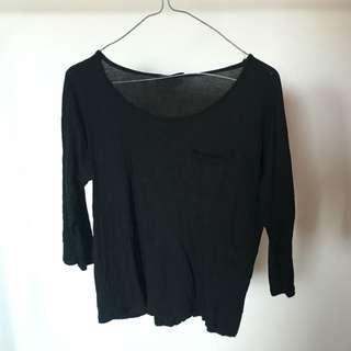 3/4 Sleeve Black Top