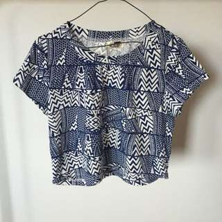 Blue And White Patterned Crop