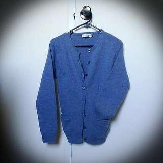 Vintage Blue Woollen Round-neck Sweater
