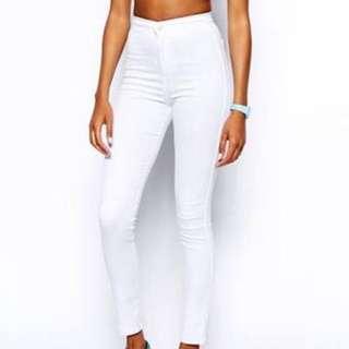 Topshop Joni Moto White Jeans