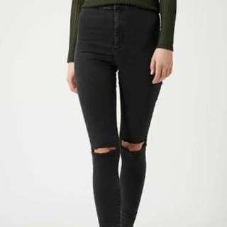 Topshop Rip Knee Joni Moto Jeans Black