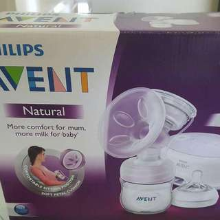 Single Electric Advent Breast Pump Plus 2 FREE Bottles