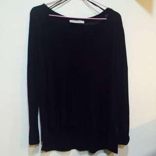 Zara 黑色v領休閒寬鬆上衣